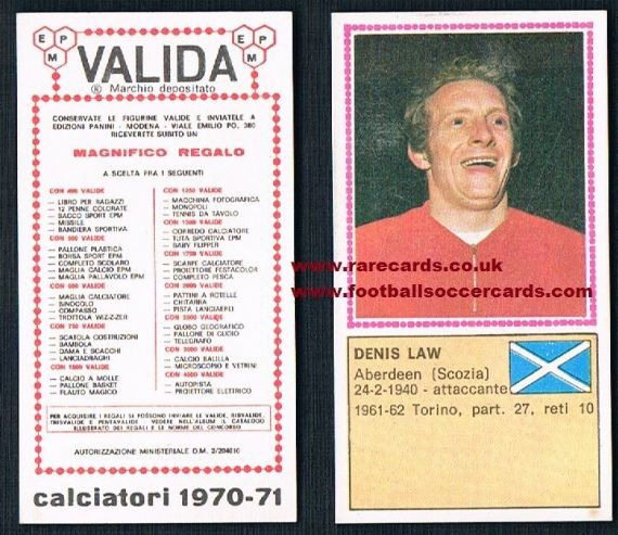 1971 Denis Law Scotland Panini Valida